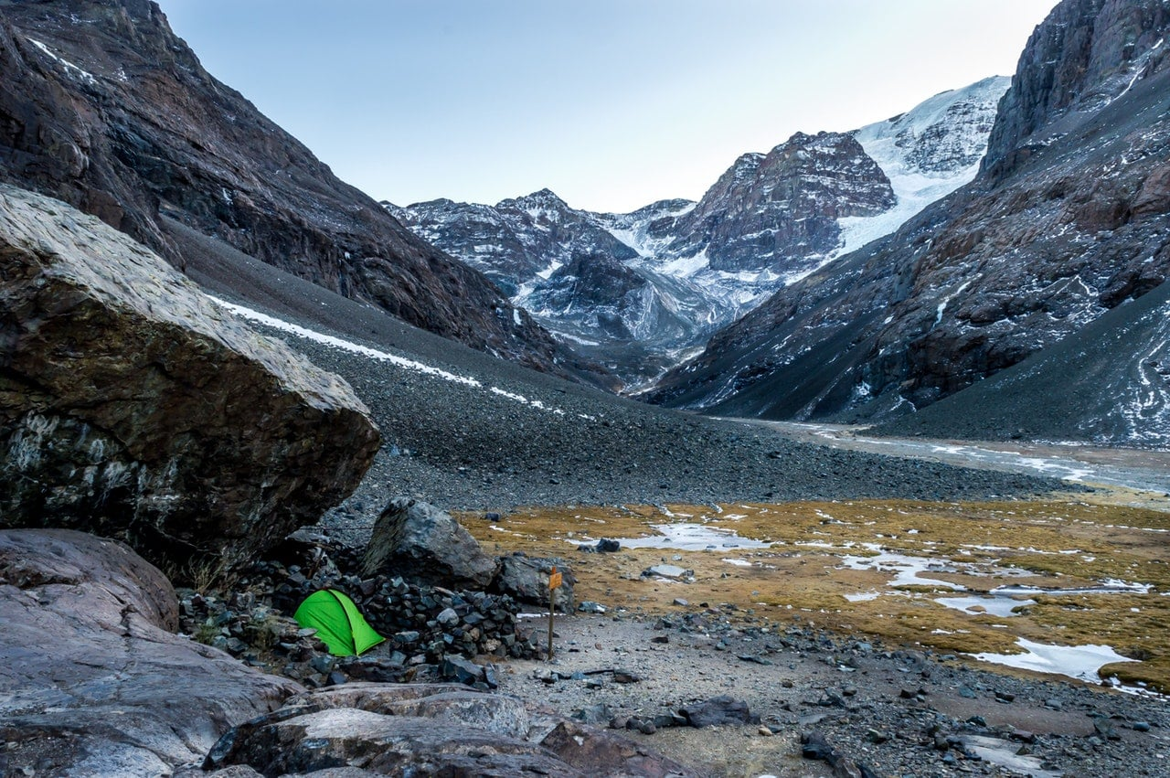 camping in the cold in the mountains