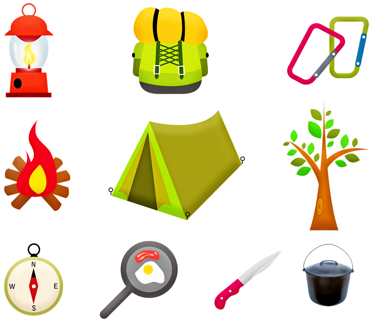 camping gears light, a backpack, fire, tent, tree, compass, pan, knife