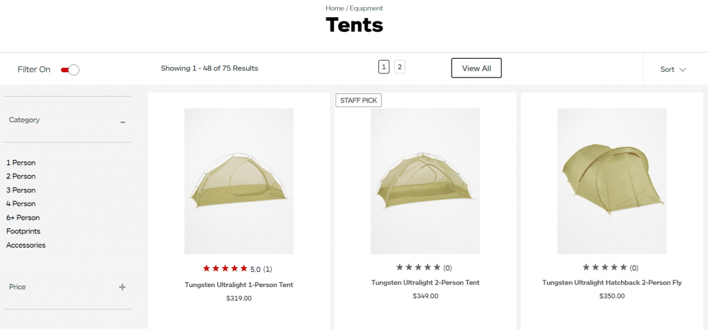 screenshot from marmot website